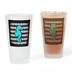 Teal Black Seahorse Drinking Glass
