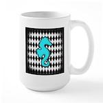 Teal Black Seahorse Mugs