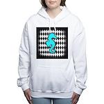 Teal Black Seahorse Women's Hooded Sweatshirt