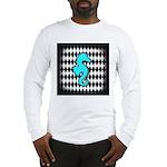 Teal Black Seahorse Long Sleeve T-Shirt