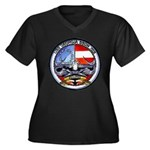USS GEORGIA Women's Plus Size V-Neck Dark T-Shirt