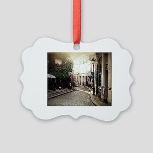 Vintage Cobblestone Cafe Picture Ornament