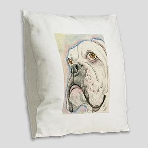 White Boxer Burlap Throw Pillow