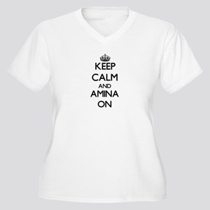 Keep Calm and Amina ON Plus Size T-Shirt