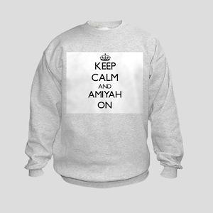 Keep Calm and Amiyah ON Kids Sweatshirt