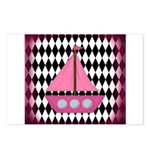 Pink Sailboat Black Diamonds Postcards (Package of