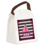 Pink Sailboat Black Diamonds Canvas Lunch Bag