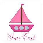Personalizable Pink Sailboat Square Car Magnet 3