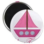 Personalizable Pink Sailboat Magnets