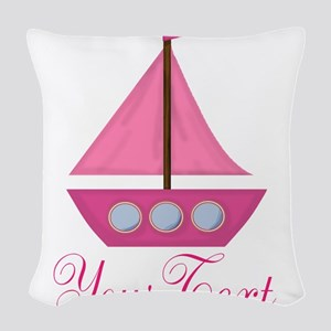 Personalizable Pink Sailboat Woven Throw Pillow
