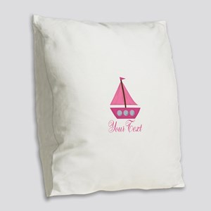 Personalizable Pink Sailboat Burlap Throw Pillow