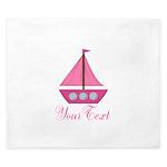 Personalizable Pink Sailboat King Duvet