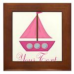 Personalizable Pink Sailboat Framed Tile