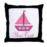 Personalizable Pink Sailboat Throw Pillow