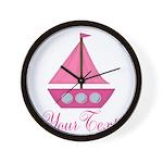 Personalizable Pink Sailboat Wall Clock