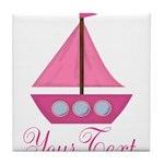 Personalizable Pink Sailboat Tile Coaster