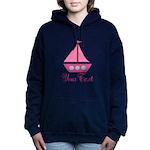Personalizable Pink Sailboat Women's Hooded Sweats