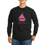 Personalizable Pink Sailboat Long Sleeve T-Shirt