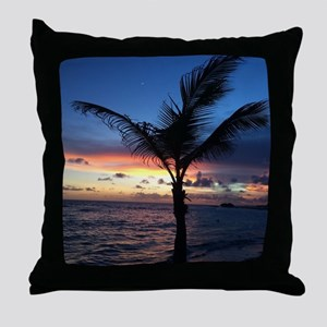 Beach Sunset Palm Tree Throw Pillow