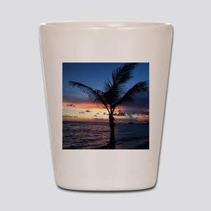 Beach Sunset Palm Tree Shot Glass