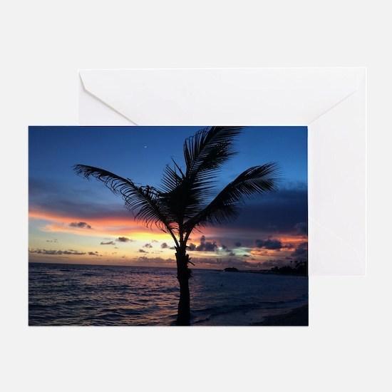Beach Sunset Palm Tree Greeting Card