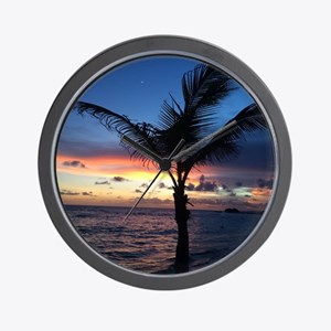 Beach Sunset Palm Tree Wall Clock