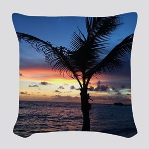 Beach Sunset Palm Tree Woven Throw Pillow