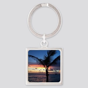 Beach Sunset Palm Tree Square Keychain