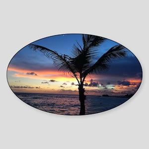Beach Sunset Palm Tree Sticker (Oval)
