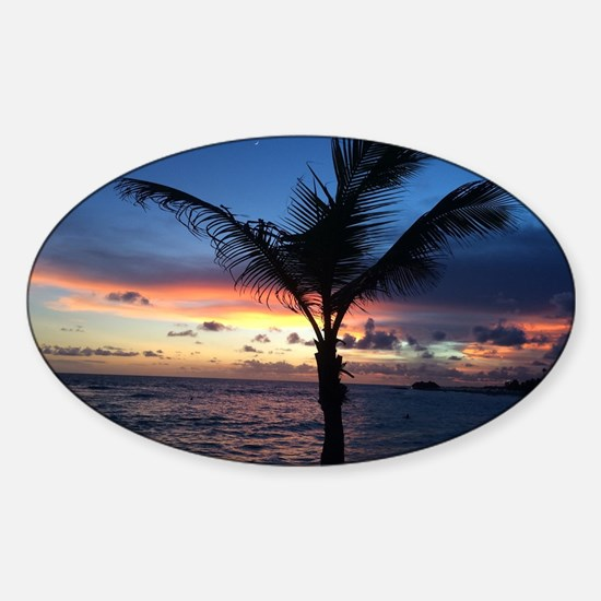 Beach Sunset Palm Tree Sticker (Oval)