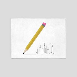 Cityscape Sketch 5'x7'Area Rug