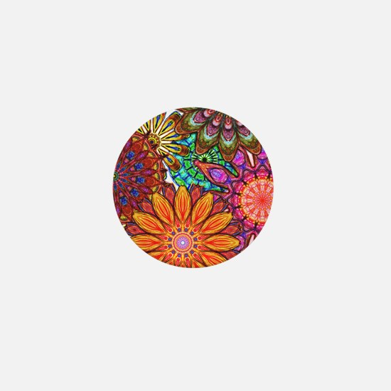 Funky Flowers Mini Button