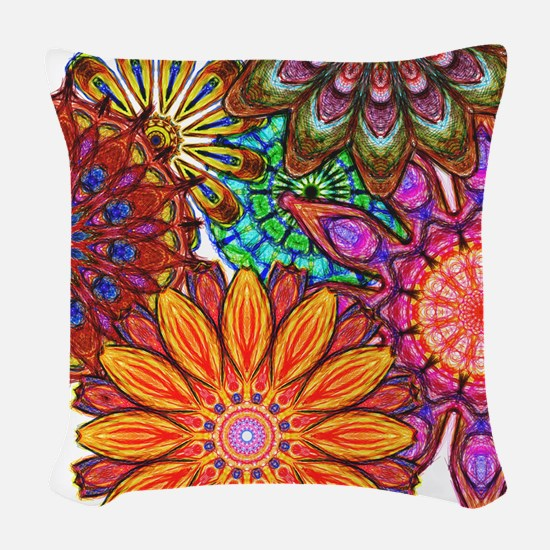 Funky Flowers Woven Throw Pillow