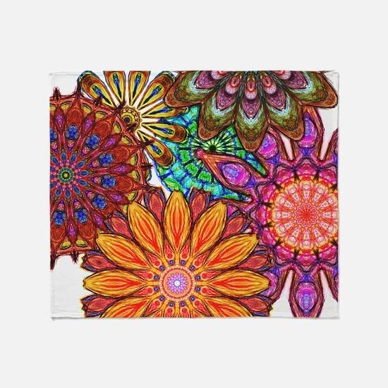 Funky Flowers Throw Blanket