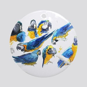 Blue and Gold Macaw Ornament (Round)