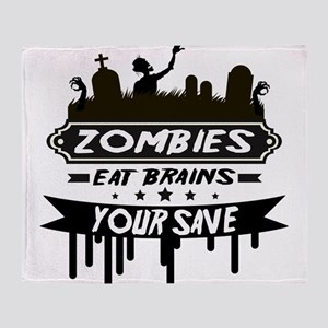 zombies eat brainss Throw Blanket