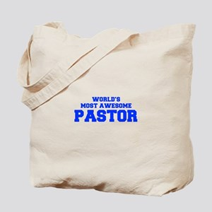 WORLD'S MOST AWESOME Pastor-Fre blue 600 Tote Bag
