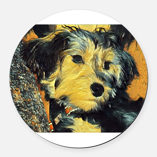 Penny the Yorkie Round Car Magnet