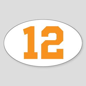 12 ORANGE # TWELVE Sticker (Oval)
