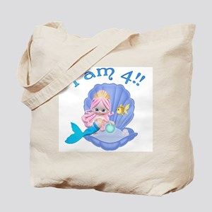 Lil Mermaid 4th Birthday Tote Bag