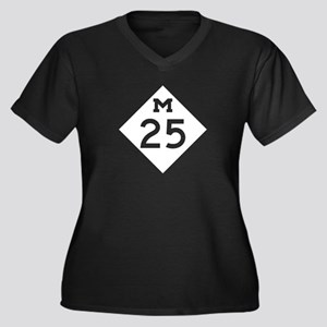 M-25, Michig Women's Plus Size V-Neck Dark T-Shirt