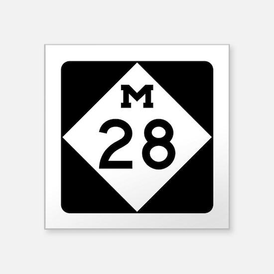 """M-28, Michigan Square Sticker 3"""" x 3"""""""