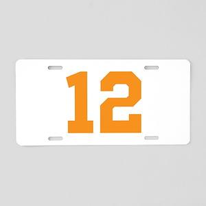 12 ORANGE # TWELVE Aluminum License Plate