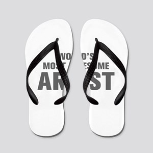 WORLDS MOST AWESOME Artist-Akz gray 500 Flip Flops
