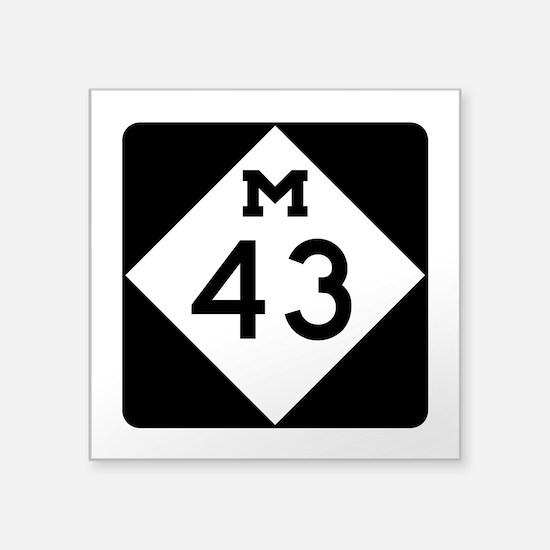 """M-43, Michigan Square Sticker 3"""" x 3"""""""