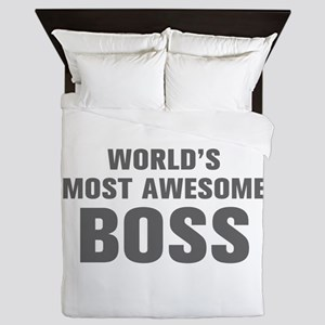 WORLDS MOST AWESOME Boss-Akz gray 500 Queen Duvet