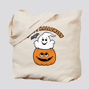Ghost In Pumpkin Tote Bag