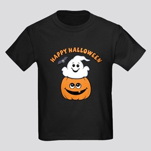 Ghost In Pumpkin Kids Dark T-Shirt