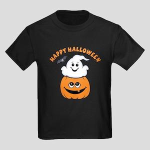 Ghost In Pumpkin Kids Dark T-Shirt