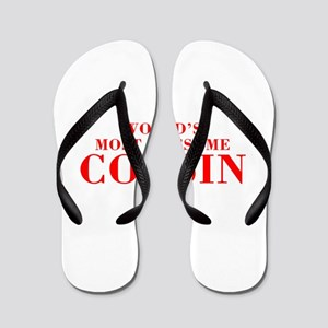 WORLDS MOST AWESOME Cousin-Bod red 300 Flip Flops